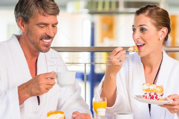 Mann und Frau trinken Kaffee in Therme oder Bad Stock photo © Kzenon
