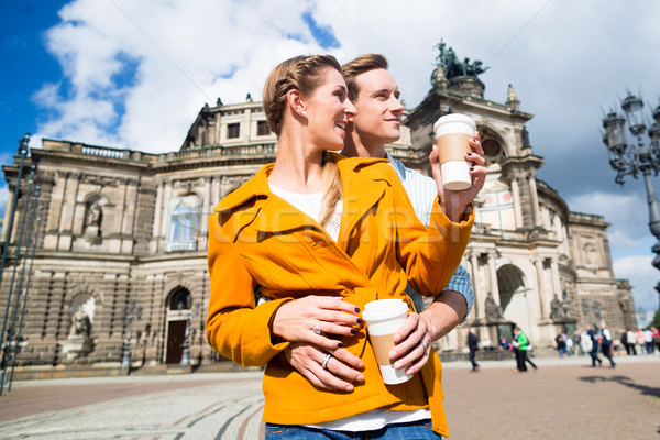 Couple taking walk at Semperoper in Dresden Stock photo © Kzenon