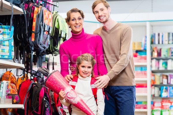 Famille achat première jour école bonbons Photo stock © Kzenon