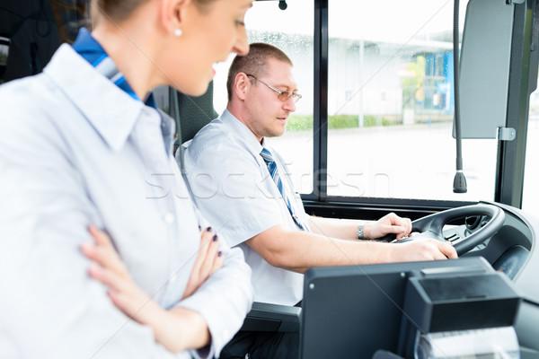 Bus or coach driver and tourist guide  Stock photo © Kzenon