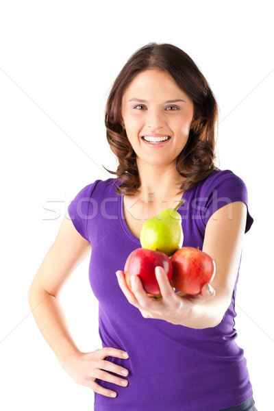 Healthy eating - woman with apples and pear Stock photo © Kzenon