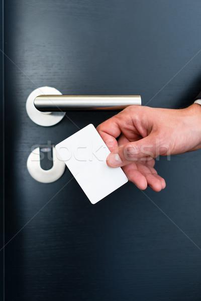 electronic keycard for room door in modern hotel Stock photo © Kzenon