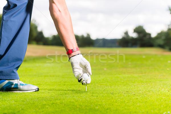 Férfi golflabda zárt lövés golf sport Stock fotó © Kzenon