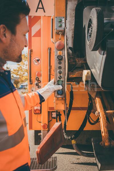 Zdjęcia stock: Pracownika · odpadów · pojazd · śmieci · usuwanie · pomarańczowy