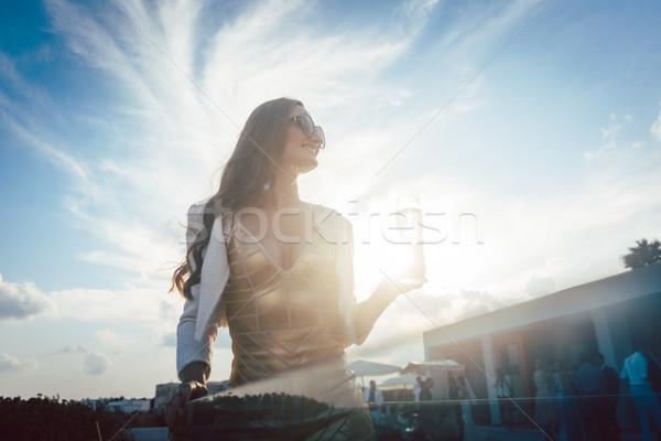 женщину шампанского лет вечеринка Villa пляж Сток-фото © Kzenon