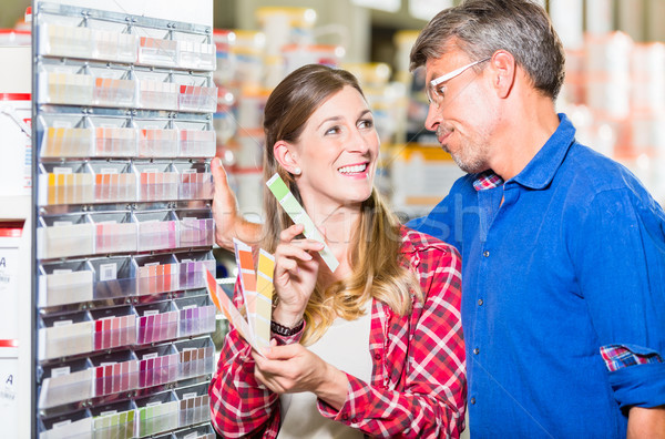 Pár választ szín festék hardver bolt Stock fotó © Kzenon
