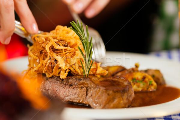 Essen Restaurant Veröffentlichung einer Rindfleisch Mittagessen Stock foto © Kzenon