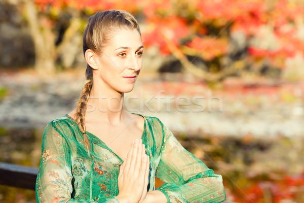 женщину подготовки йога Открытый осень осень Сток-фото © Kzenon