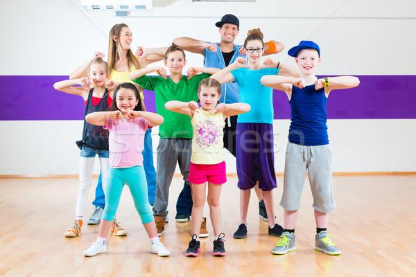 Stok fotoğraf: Dans · öğretmen · çocuklar · zumba · uygunluk · sınıf