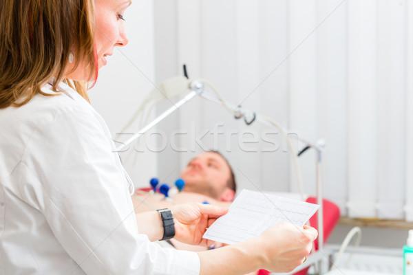 Hasta kardiyogram kadın doktor elektrokardiyogram Stok fotoğraf © Kzenon