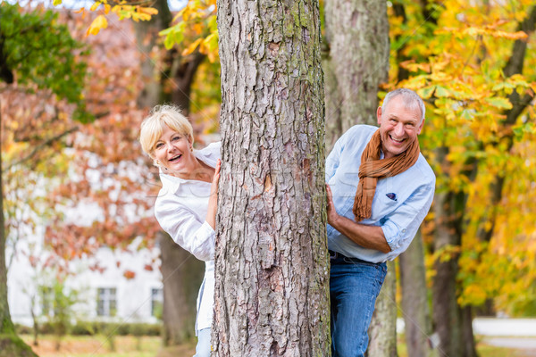 Senior couple flirting playing around tree in park Stock photo © Kzenon