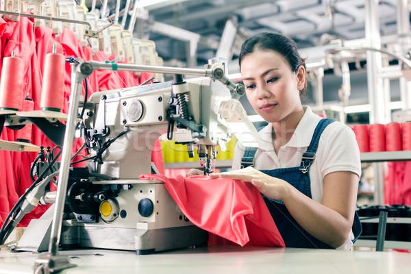 Chinese werken textiel fabriek werknemer asian Stockfoto © Kzenon