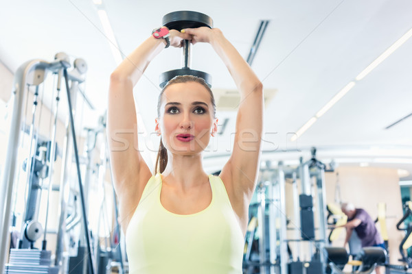 Portrait of a beautiful fit woman exercising triceps extension with dumbbell Stock photo © Kzenon