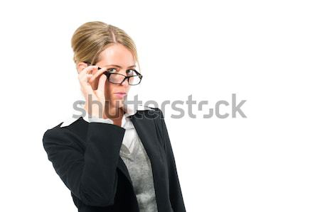 Young woman with white background looking at viewer Stock photo © Kzenon