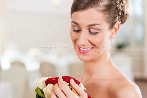 Bride with bridal bouquet Stock photo © Kzenon