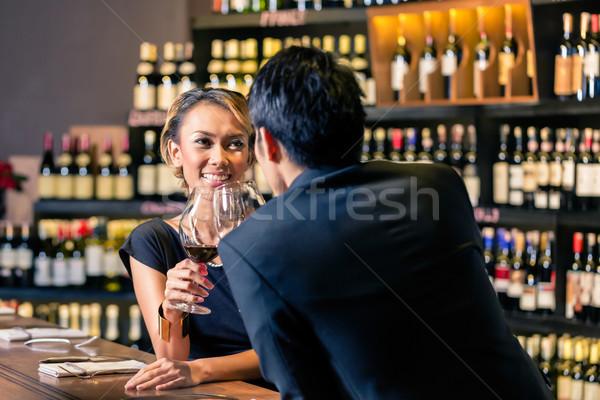 азиатских пару питьевой дегустация вино Сток-фото © Kzenon