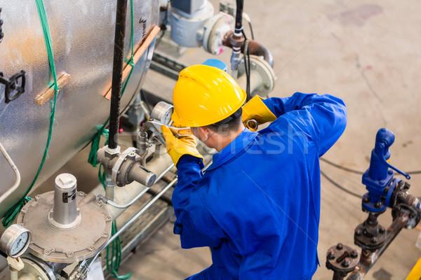 Foto stock: Industrial · trabajador · de · trabajo · máquina · técnico · fábrica