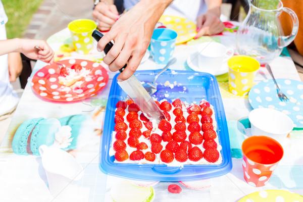 Család vág gyümölcskenyér kés gyerekek fű Stock fotó © Kzenon