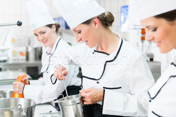 Team of chefs in production process of system catering Stock photo © Kzenon