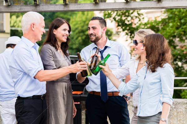 Biuro koledzy pitnej piwa pracy taras Zdjęcia stock © Kzenon
