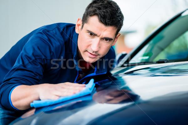 Férfi törölköző felület autó fiatalember puha Stock fotó © Kzenon