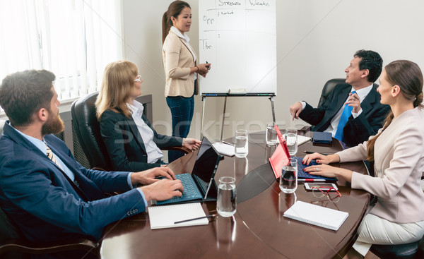 Stock photo: Multi-ethnic group of business people analyzing a project