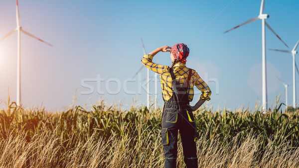 Farmer woman has invested not only in land but also wind energy Stock photo © Kzenon
