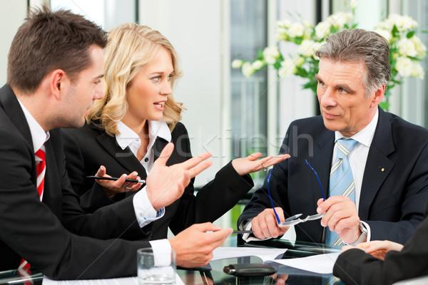 Stockfoto: Business · team · vergadering · kantoor · laptop · baas