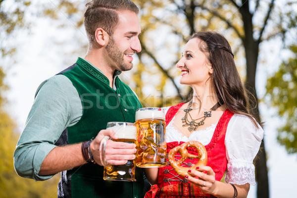 Bière bretzel automne femme arbre alimentaire Photo stock © Kzenon
