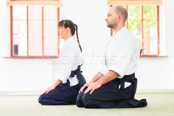 öğretmen öğrenci aikido dövüş sanatları okul adam Stok fotoğraf © Kzenon