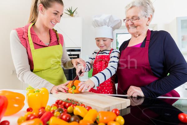 Granny vecchio famiglia ricetta nipote Foto d'archivio © Kzenon