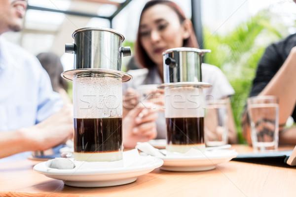 Sıcak espresso kahve tatlı cam Stok fotoğraf © Kzenon