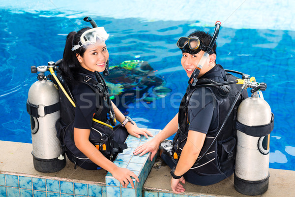 Teacher and student in a diving school Stock photo © Kzenon