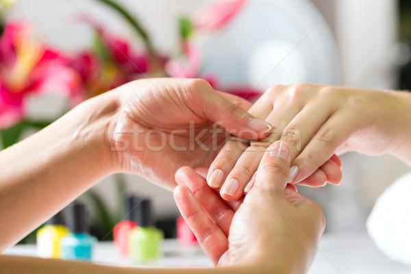 Nő manikűrös kéz masszázs manikűr kezek Stock fotó © Kzenon
