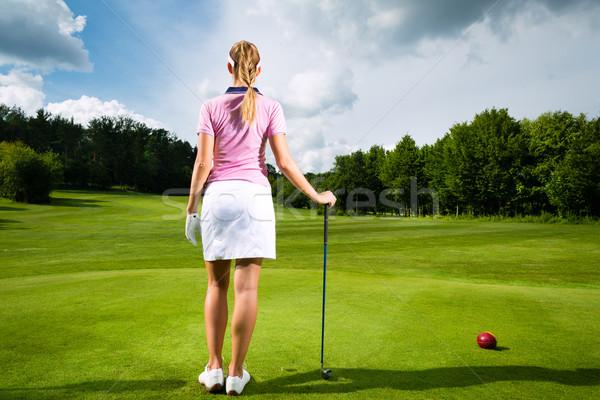 Fiatal női golfozó Stock fotó © Kzenon