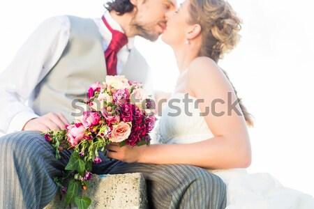 свадьба нежность пару целоваться невеста Сток-фото © Kzenon