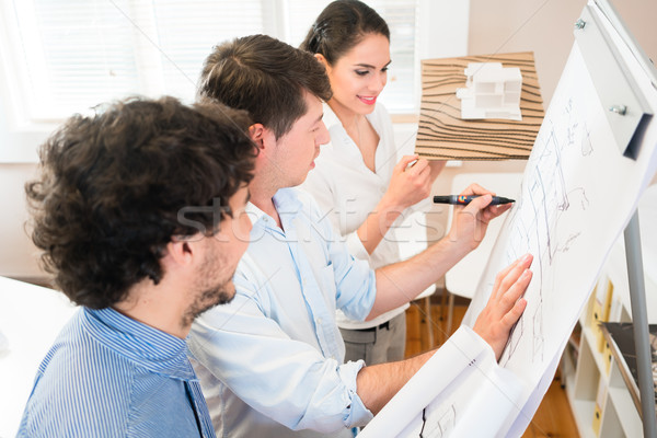 Construction engineers talk at flipchart about building plan Stock photo © Kzenon