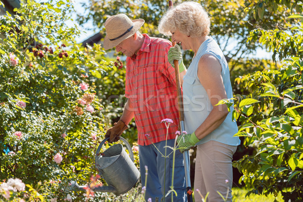 Active happy senior woman standing next to her husband during garden work Stock photo © Kzenon