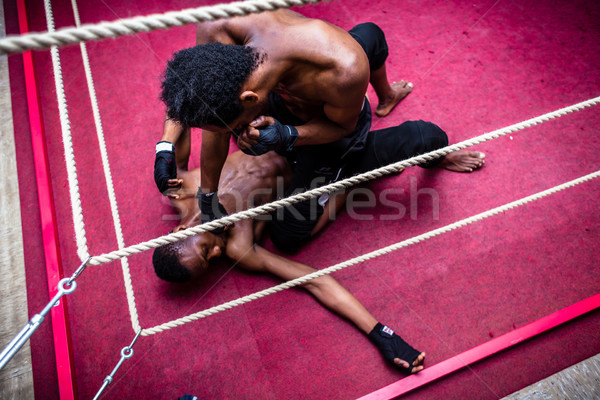 High angle view of African American fighter punching his opponent Stock photo © Kzenon