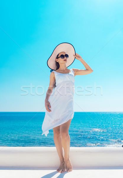 女性 太陽 ギリシャ 海 ビーチ ストックフォト © Kzenon