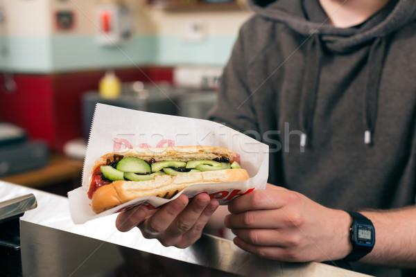 продавцом хот-дог быстрого питания Бар дружественный Сток-фото © Kzenon