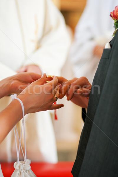 Сток-фото: невеста · кольца · жених · свадьба · пару · Свадебная · церемония