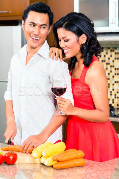 Asian couple domestique cuisine cuisson Photo stock © Kzenon