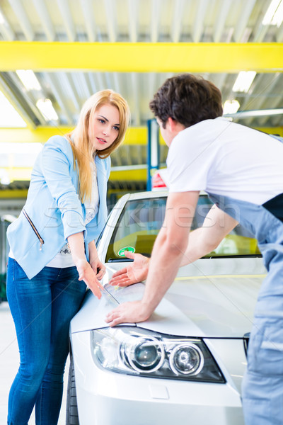 Customer and car painter in auto workshop  Stock photo © Kzenon