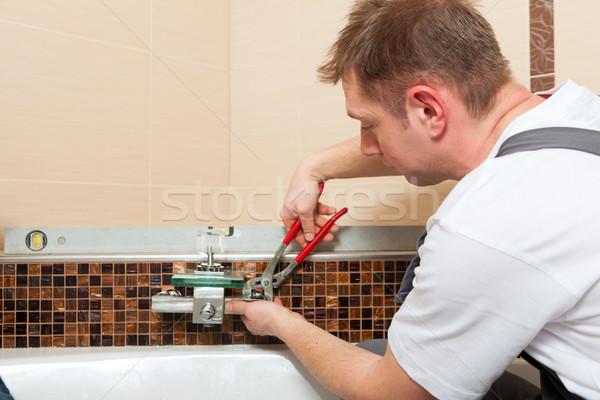 Fontanero mezclador toque bano negocios Foto stock © Kzenon