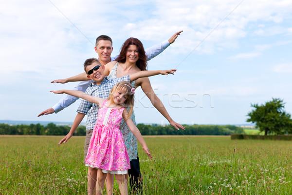 Foto stock: Família · feliz · prado · verão · mãe · pai · crianças
