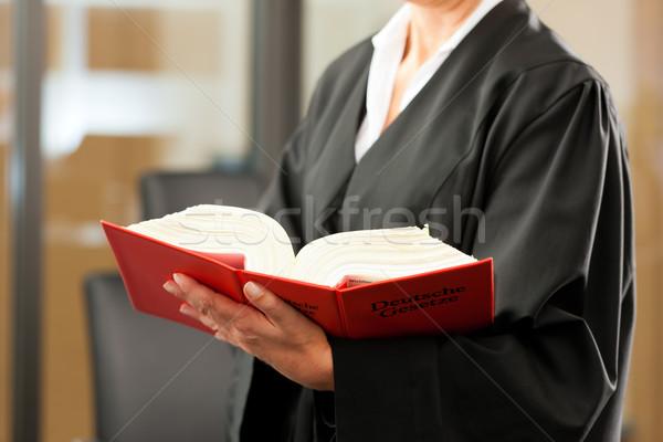 Vrouwelijke advocaat burgerlijk code recht torso Stockfoto © Kzenon