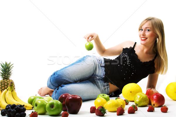 green apple on woman's hip Stock photo © Kzenon