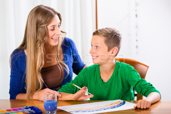 Mother and son painting picture Stock photo © Kzenon