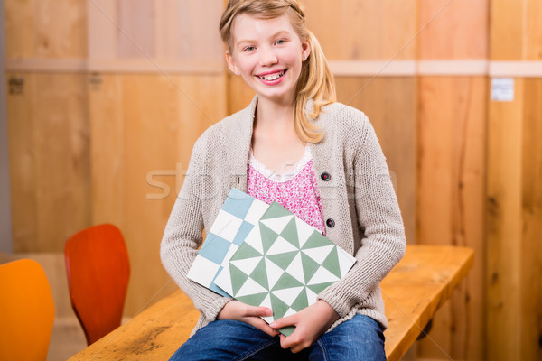 Child with floor tiles in home improvement store Stock photo © Kzenon